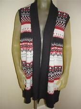 NWT Laura Scott Black/Red Sweater Vest Sleeveless Cardigan Womens  16W / 18W