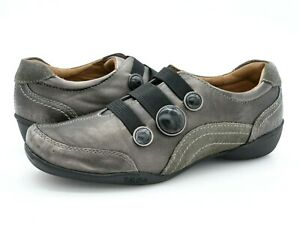 Taos Womens 8 Threepeat Gray Solid Leather Round Toe Casual Slip on Shoes EUR 39