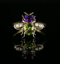 SUFFRAGETTE BEE RING 18CT GOLD  SILVER PERIDOT AMETHYST PEARL SUFFRAGETTE STYLE
