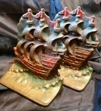 Vintage Cast Iron Colored Pirate Ship Bookends Nautical Maritime