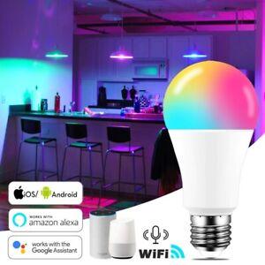 15W WiFi Smart Light Bulb B22 E27 LED RGB Lamp Work with Alexa/Google Home