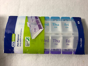 Weekly Pill Planner Organizer XL Easy Use AM/PM  with Push Button 7 Day Box Case