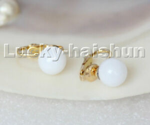 AAA natural 10mm round white jade beads Earrings clip c320