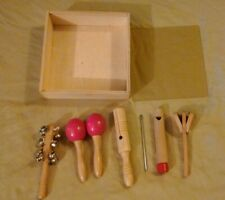 Vtg Kids 6 Pcs Musical Instruments Boxed Set Wooden Toy Percussion Children