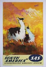 SAS AIRLINES SOUTH AMERICA Vintage Travel poster 1959 Otto Nielsen NM Linen