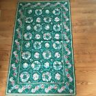 """Vintage Needlepoint Tapestry Area Rug 58"""" x 35"""" Hand Stitched Cottagecore"""