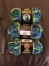 lion brand boucle yarn 3 Skeins In Lime Blue