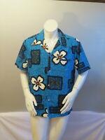 Vintage Hawaiian Aloha Shirt - Tribal Floral Pattern Backcloth - Men's Large