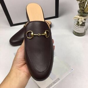 Women's Real Leather Backless Loafer Slippers Slide Princetown Shoes Black/Beige
