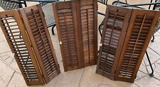 "6 Panels Vintage DARK WOOD INTERIOR SHUTTERS LOUVERED PLANTATION 42"" W X 26"" H"