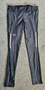 """Black Grey Spandex Lycra Shiny Leggings Running Yoga Small UK 8-10 32-34"""""""