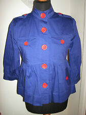 LULU & AND RED swing nautical military blazer JACKET COAT UK 10-12 blue