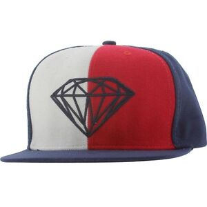 Diamond Supply Co Brilliant Leather Back Buckle Adjustable Cap (red / white / bl