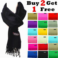 Winter Unisex Plain Solid Scarves 100% Cashmere Wool Warm Scarf Made in Scotland