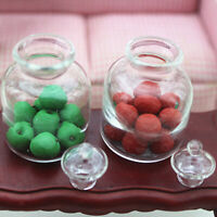 1/12 Dollhouse Miniature Clear Glass Bottles Storage Jar Kitchen Supplies