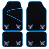 Universal Car Floor Mats Blue Black Embroidery Pirate Style Anti-slip 4 PCS