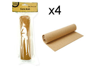 New Set of 4 Rolls Craft Cork Roll Sheet 1Mx 20cm Craft School Project