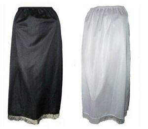 """Black OR White Long Half Slip Sizes 8-22 32"""" Length Anti Static Maxi Underskirt"""