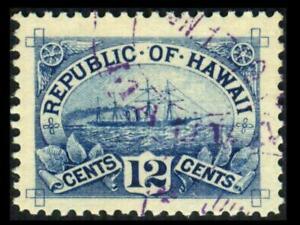 78 HAWAII 12c Blue SS ARAWA SHIP Used VF Hawaiian Cancel SEE PHOTOS Lot L-536