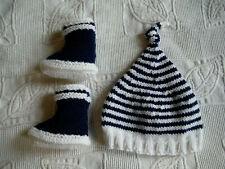 Ensemble bonnet + chaussons bébé 0-3 mois tricotés main