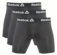 REEBOK MEN UNDERWEAR 3 PACK BOXER BRIEF STRETCH PERFORMANCE TRAINING - 183 BLACK