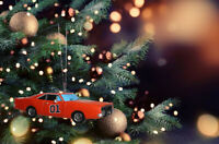 General Lee Dodge Charger Dukes Of Hazzard Car X'mas Ornament with Dixie HORN