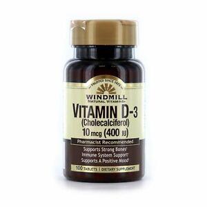 Windmill Vitamin D-3 400 I.U. Tablets, 100 Count