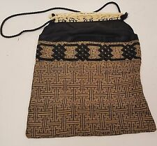 Antique Chinese Hand Bag Lay Work Embroidery with Carved Bovine Bone Handle
