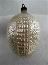 Beautiful Reflective Indented Silver Teardrop Glass Ornament ~ Germany
