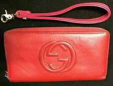 GUCCI Red GG Signature SOHO Interlocking Zip Around Long Wallet Purse - ITALY