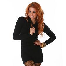 Kleid Pulli Strickkleid Minikleid Longpullover Pullover Schal Schwarz 34 36 38