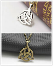 2Pcs Silver/Bronze Long Chain Celtic Triquetra Trinity Knot Pendant Necklace