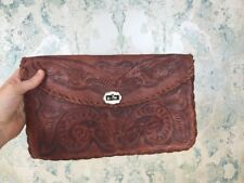Vintage Brown Leather Floral Embossed Hand Made Braided Trim Small Clutch Bag