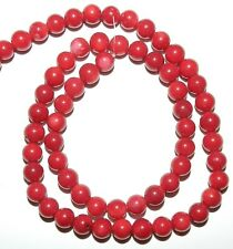 CRL175 Dark Red 5mm Round Bamboo Coral Gemstone Beads 15""