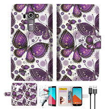 Purple Butterfly Wallet TPU Case Cover For LG G4-- A017