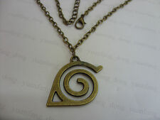 A Bronze Tone Naruto hidden leaf village logo Charm Pendant Chain Necklace Anime