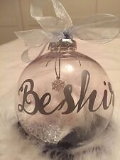 Personalised Christmas Bauble with Hanging Charm Personalised Colour & Name