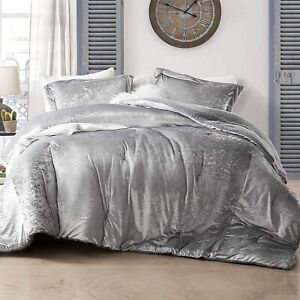 Soft Velvet Sherpa Faux Fur Silver Grey King Queen 3 pcs Reversible Comforter