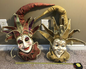 Two Venetian Decorative Ceramic Jester Mask Wall Art Red/gold And Gold/white