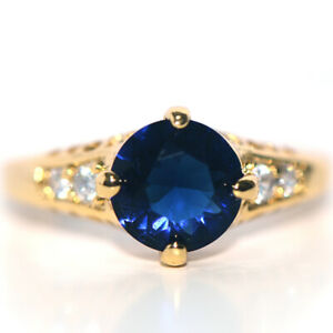 sapphire blue stone gold filled womens wedding bridal party rings jewelry size 8