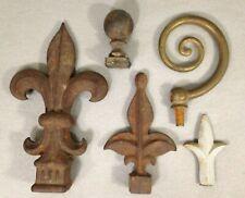 Lot of 5 Vintage Finials Cast Brass spiral and Iron Fleur De Lis finials