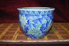"Asian Porcelain Blue White Green Floral Design Planter Fish bowl 7 7/8""x5 7/8"""