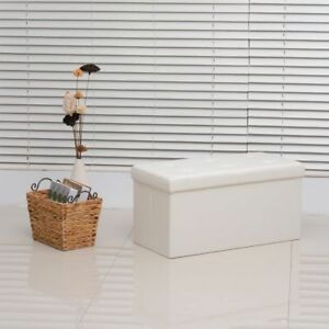Storage Ottoman Bench Folding Cream White Wooden Frame Covering Faux Leather