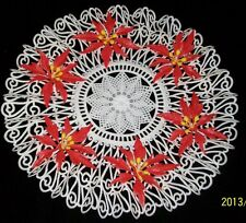 Vintage Christmas Doily White Plastic Ruffled Lace Poinsettia 11 inch