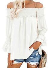Blooming Jelly Women's Off Shoulder Chiffon Blouse Ruffle, White, Size X-Large 0