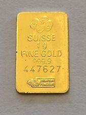 One (1 ) gram 999.9 Fine Gold Bullion Bar Fortuna PAMP Suisse Bar Serial #'d