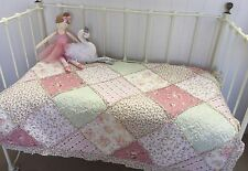 Lila Girls Cotton Cot Quilt Patchwork Ruffle Shabby Chic Nursery Bedding