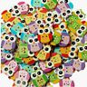100Pcs Lovely Owl Animal Wooden Button Sewing Scrapbooking DIY Craft 2 Holes ap