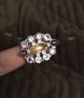 .925 Genuine Sterling Silver Ring Jewelry with Lab Amethyst, Green Peridot Zs  7