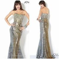 NWT JOVANI MARMAID OMBRE GOLD/SILVER BEADED BODICE PAGENT,PROM $768 AUTENTIC